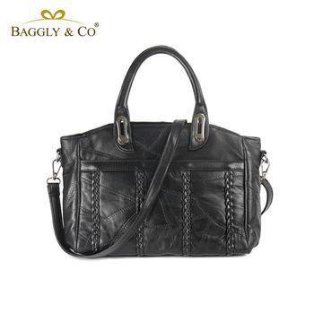 【BAGGLYCO】氣質麻花編織羊皮手提側背包(黑色)