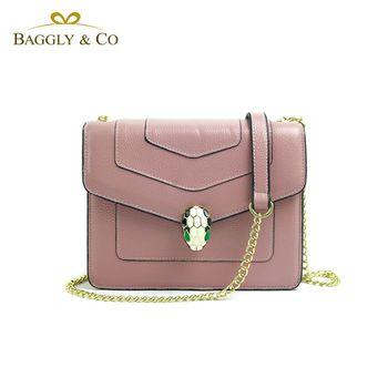 【BAGGLYCO】美杜莎真皮鏈條側背包(三色)