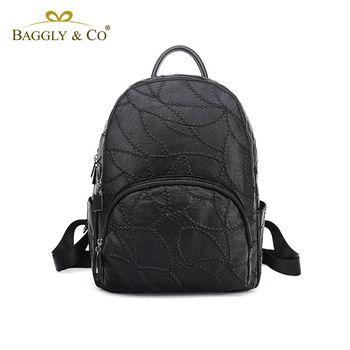 【BAGGLYCO】素雅繡線系列真皮後背包(黑色)
