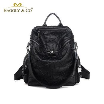 【BAGGLYCO】中世紀繡線系列真皮多用後背包(黑色)