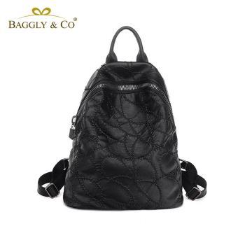 【BAGGLYCO】大拉鏈繡線系列真皮後背包(黑色)