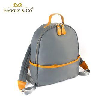 【BAGGLYCO】輕俏空氣感真皮尼龍後背包(二色)