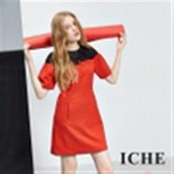 【ICHE 衣哲】透視蕾絲拼接寶石禮服洋裝