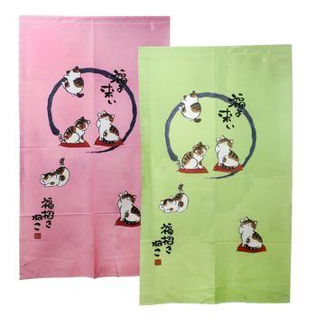 日式針織五福貓長門簾-紅綠二入組88x150cm(YSJ872)