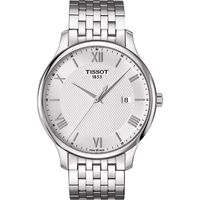 TISSOT Tradition 羅馬 大三針石英腕錶~銀 42mm T063610110