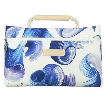 LONGCHAMP SPLASH水花圖案棉質帆布手提化妝包(藍)