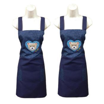 愛心熊兩口袋圍裙GS554藍-二入組
