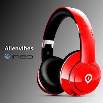 ineo alienvibes 主動式抗噪 可折疊 耳罩式耳機 頭戴式耳機(紅色)