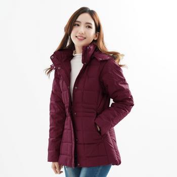 【遊遍天下】中長版JIS90%羽絨極暖防風防潑水羽絨連帽外套(暗紅)