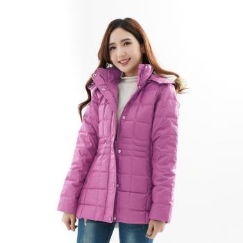 【遊遍天下】中長版JIS90%羽絨極暖防風防潑水羽絨連帽外套(淺紫)