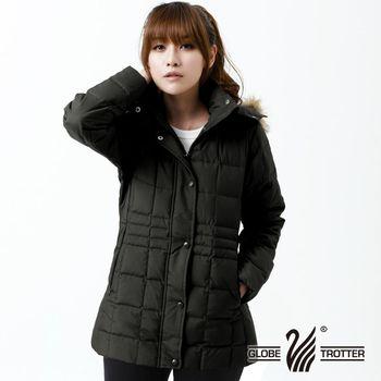 【遊遍天下】中長版JIS90%羽絨極暖防風防潑水羽絨連帽外套(黑色)