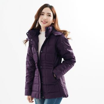 【遊遍天下】中長版JIS90%羽絨極暖防風防潑水羽絨連帽外套(深紫)