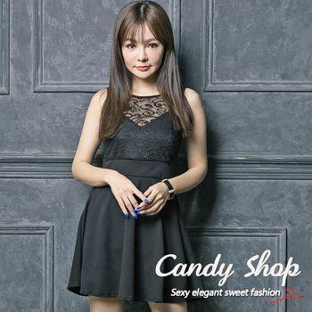 Candy 小鋪     新品特色款V型蕾絲A字傘擺連身洋裝(黑/紅)2色-0097880