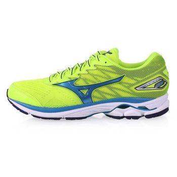 【MIZUNO】WAVE RIDER 20 男慢跑鞋-路跑 美津濃 螢光黃藍