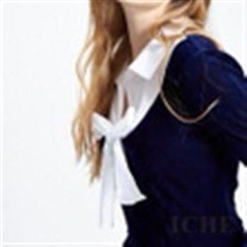 【ICHE 衣哲】假兩件襯衫領結拼接上衣