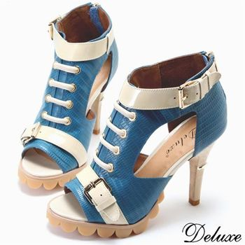 【Deluxe】全真皮個性綁帶鏤空魚口高跟鞋(藍)
