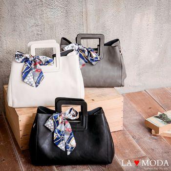 La Moda 古典優雅特色蝴蝶結緞帶大容量肩背斜背手提方包 (共3色)