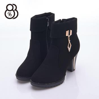 【88%】英秋冬時尚美靴 麂皮菱形水鑽金屬扣環 粗高跟8cm 踝靴 裸靴 短靴