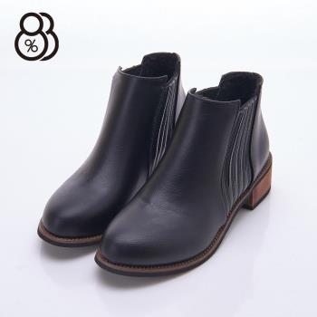 【88%】秋冬百搭靴款 特殊線條車線設計 素色皮革 中粗跟4cm 短筒靴 靴子