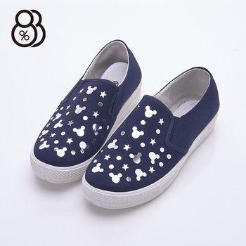 【88%】可愛米奇圖騰 星星亮片布面 圓頭平底 懶人鞋 休閒鞋 帆布鞋