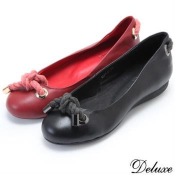 【Deluxe】典雅圓頭金屬飾扣蝴蝶結小厚底娃娃鞋(紅☆黑)