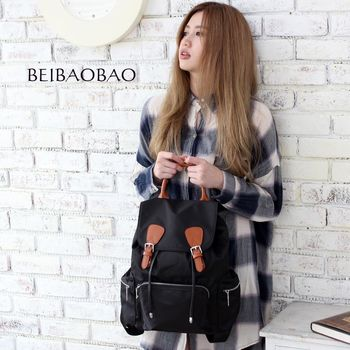 【BEIBAOBAO】倫敦學院防水布配真皮後背包(共兩色:時尚黑)