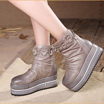[背叛風情]  真皮女靴圓頭休閒平底靴厚底羊皮短靴防水台T16CXZ70087
