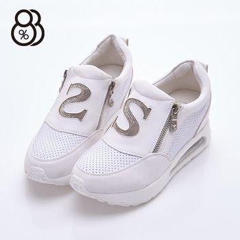 【88%】正韓空運 韓國製造 英文S字 真皮側拉鍊 隱形內增高2.5cm 氣墊3.5cm 休閒鞋