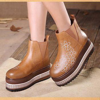 [背叛風情] 牛皮平底女靴圓頭真皮單靴休閒短靴厚底花朵靴子T16CXZ70081