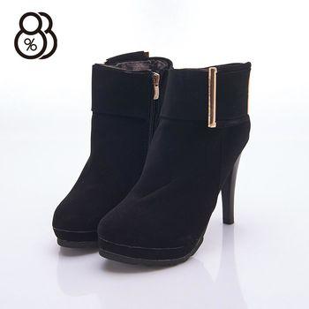 【88%】紐約時尚步調 麂皮復古造型 側拉鍊 細高跟11cm 踝靴