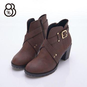 【88%】MIT台灣製 英倫時尚交叉 金屬釦 粗跟 7cm高跟 短靴