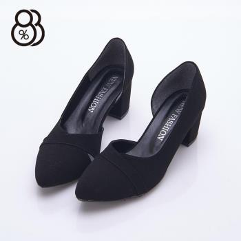 【88%】MIT台灣製 OL時尚設計感 尖頭絨面麂皮包鞋 側邊鏤空 中跟5.5cm 粗跟 跟鞋