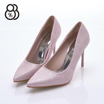 【88%】婚宴時尚質感 閃亮皮革 尖頭 9cm高跟鞋 細跟