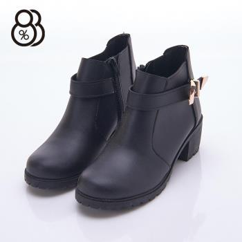 【88%】英倫復古風流行款 金屬扣環 中粗跟5cm 短靴 靴子