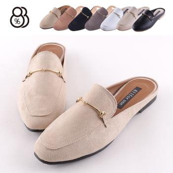 【88%】MIT台灣製 歐美時尚 復古絨面馬銜扣環 1.5cm低跟 粗跟 穆勒鞋 涼鞋 拖鞋