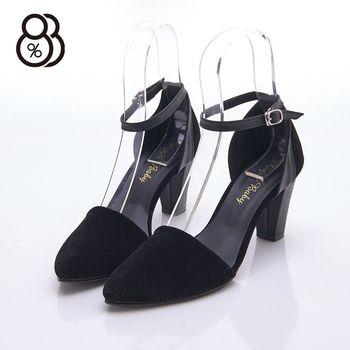 【88%】MIT台灣製 素面尖頭 麂皮皮革復古 高粗跟7.5cm 瑪莉珍鞋