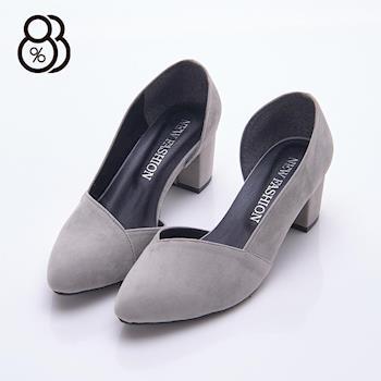 【88%】MIT台灣製 簡約設計 尖頭絨布包鞋 側邊鏤空 中粗跟5.5cm 娃娃鞋 跟鞋