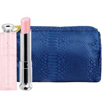 Dior 迪奧 粉漾潤唇膏(#001)(3.5g)+美妝包