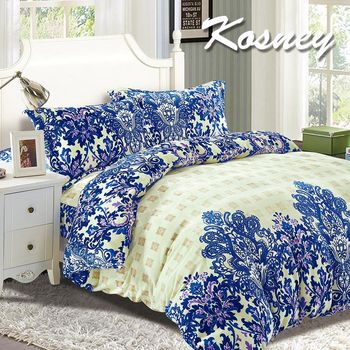【KOSNEY】溫妮莎  頂級法蘭絨特大四件式兩用被套床包組