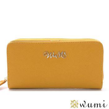 WuMi日韓 桃瑞絲十字紋雙用長夾  橡木黃