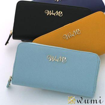 WuMi日韓 桃瑞絲十字紋雙用長夾  微風藍