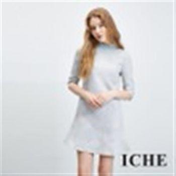【ICHE 衣哲】水鑽釘珠立體紋微高領洋裝
