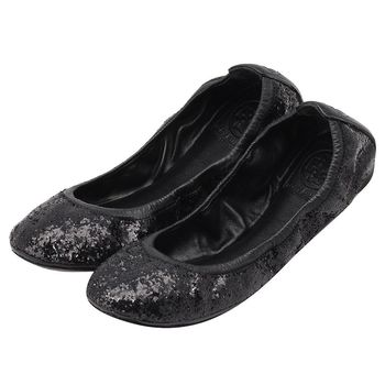 TORY BURCH 搶眼亮片造型牛皮飾邊平底娃娃鞋(黑色)