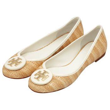 TORY BURCH 立體金色LOGO竹藤編織牛皮飾邊平底娃娃鞋(淺棕X白色)