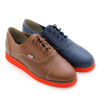 【GREEN PHOENIX】BIS-VITAL_英倫風情復刻綁帶厚底牛津鞋-藍色、棕色