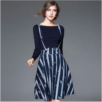 (現貨+預購 RN-girls)-歐美秋冬時尚長袖針織衫+條紋牛仔吊帶裙套裝