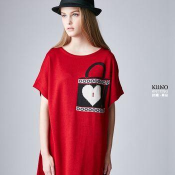 名媛首選【KIINO】可愛緹花圖案長版短袖針織罩衫 1862-1037