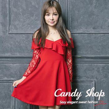 Candy 小鋪     小性感露肩蕾絲荷葉傘擺連身洋裝(黑/紅)-0097898