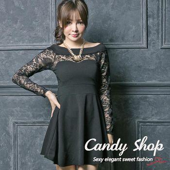 Candy 小鋪     新品特色款一字領蕾絲傘擺連身洋裝(黑/紅)2色-0097884