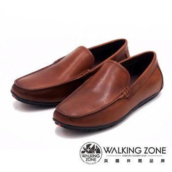 WALKING ZONE 真皮氣墊感舒適直套休閒男皮鞋-棕(另有藍)
